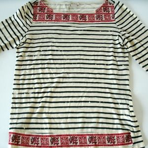 Lucky Brand T-Shirt Embroidered Striped Distressed